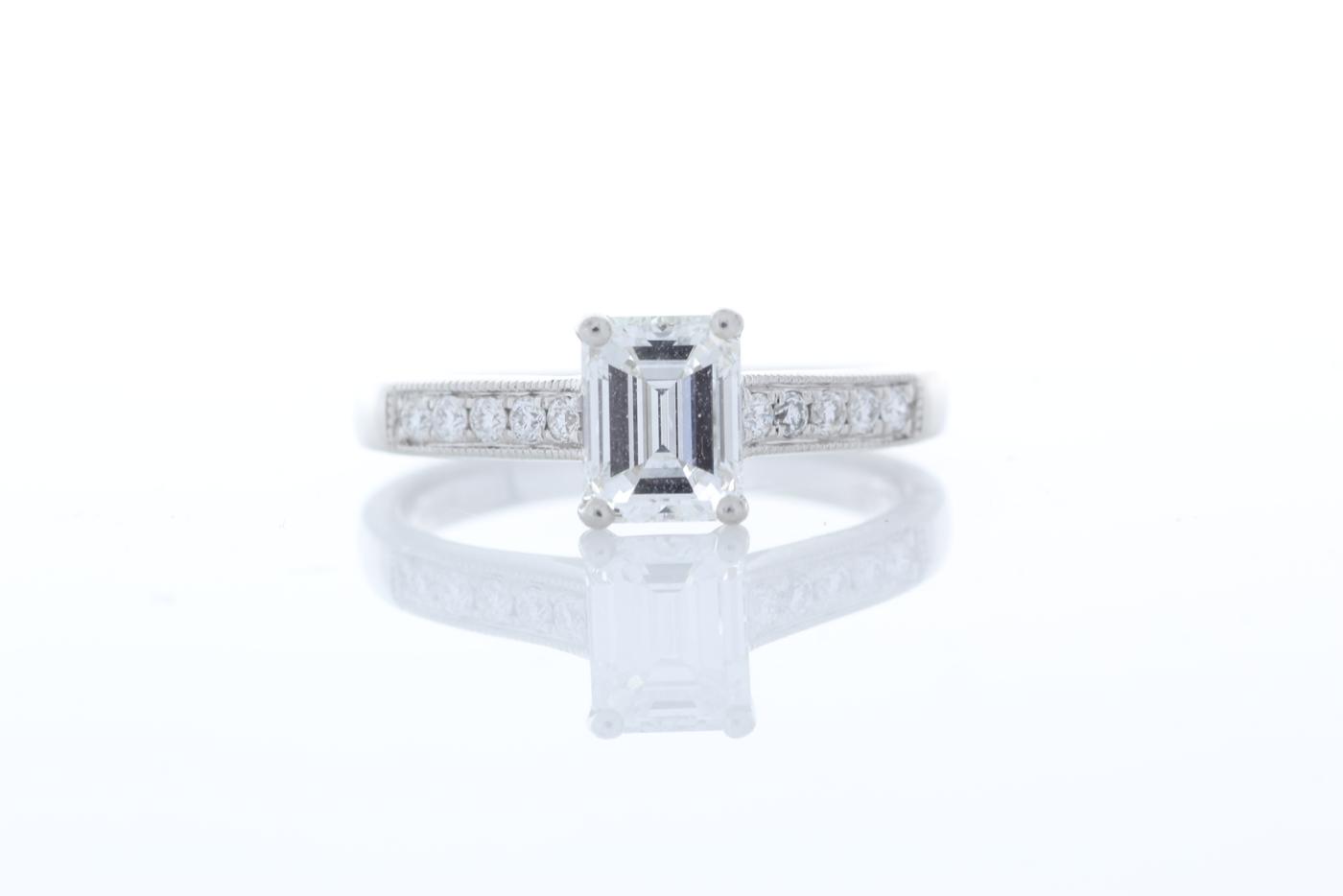 Lot 48 - Platinum Emerald Cut Diamond Ring 1.04 Carats