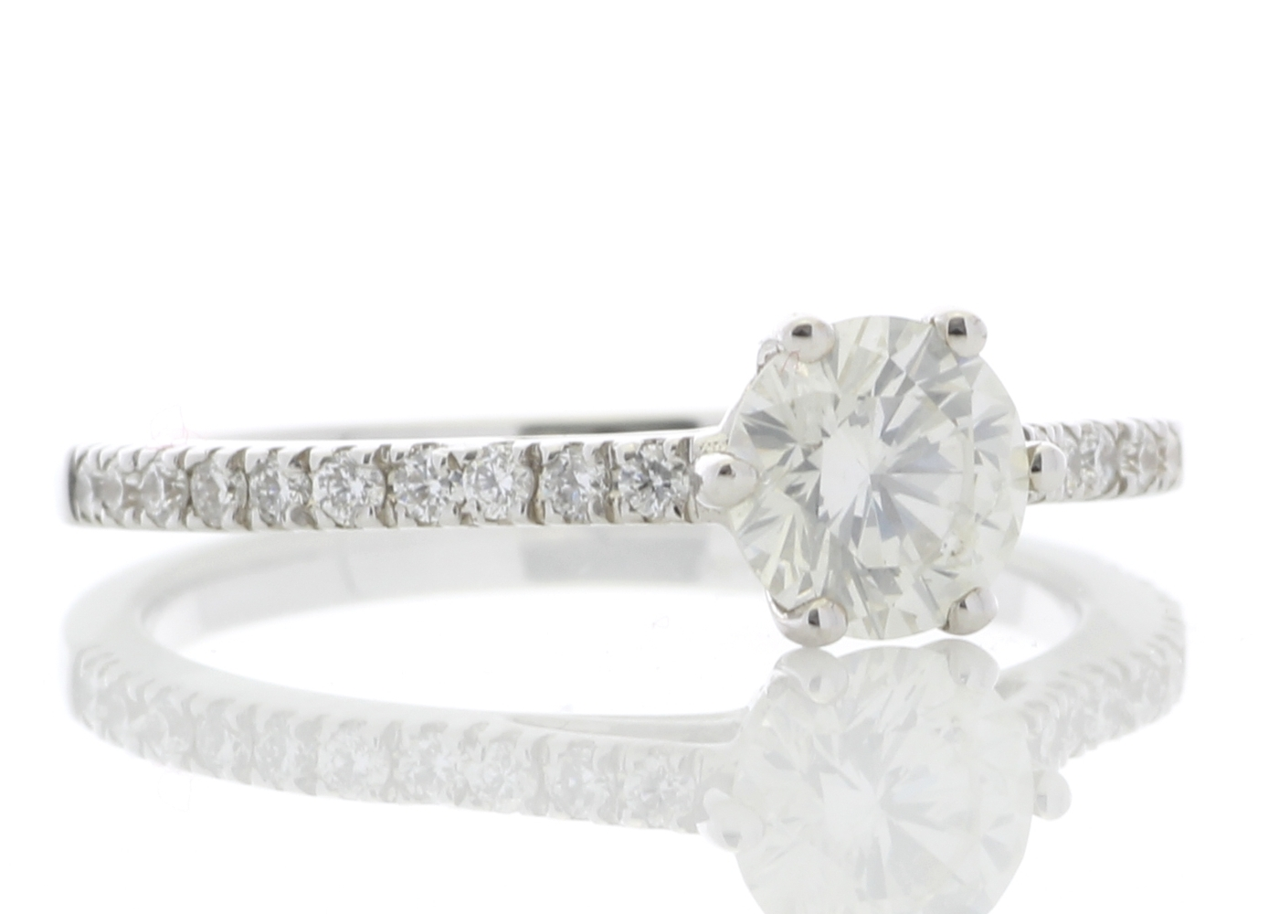 18ct White Gold Solitaire Diamond ring With Stone Set Shoulders 0.90 Carats - Image 4 of 5