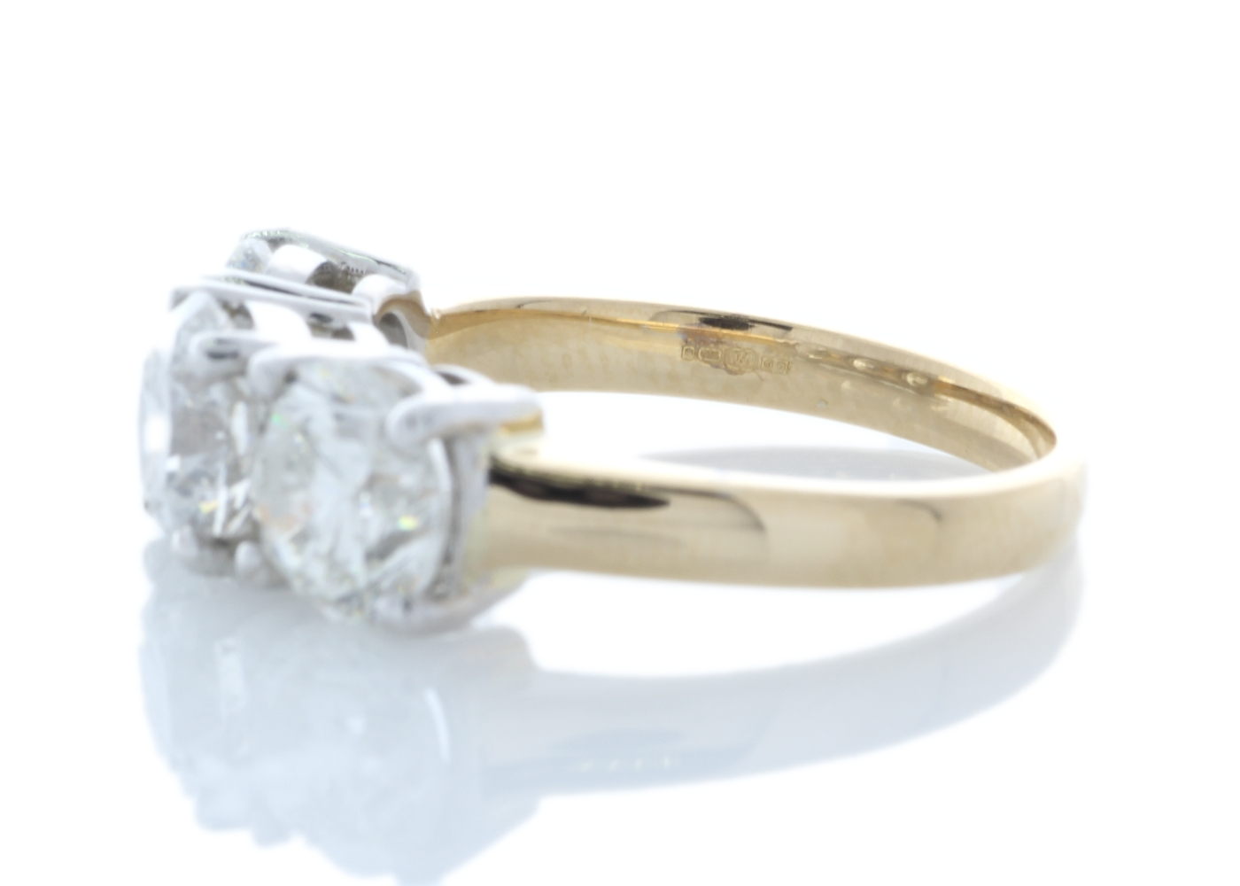 Lot 9 - 18ct Yellow Gold Three Stone Claw Set Diamond Ring 3.37 Carats