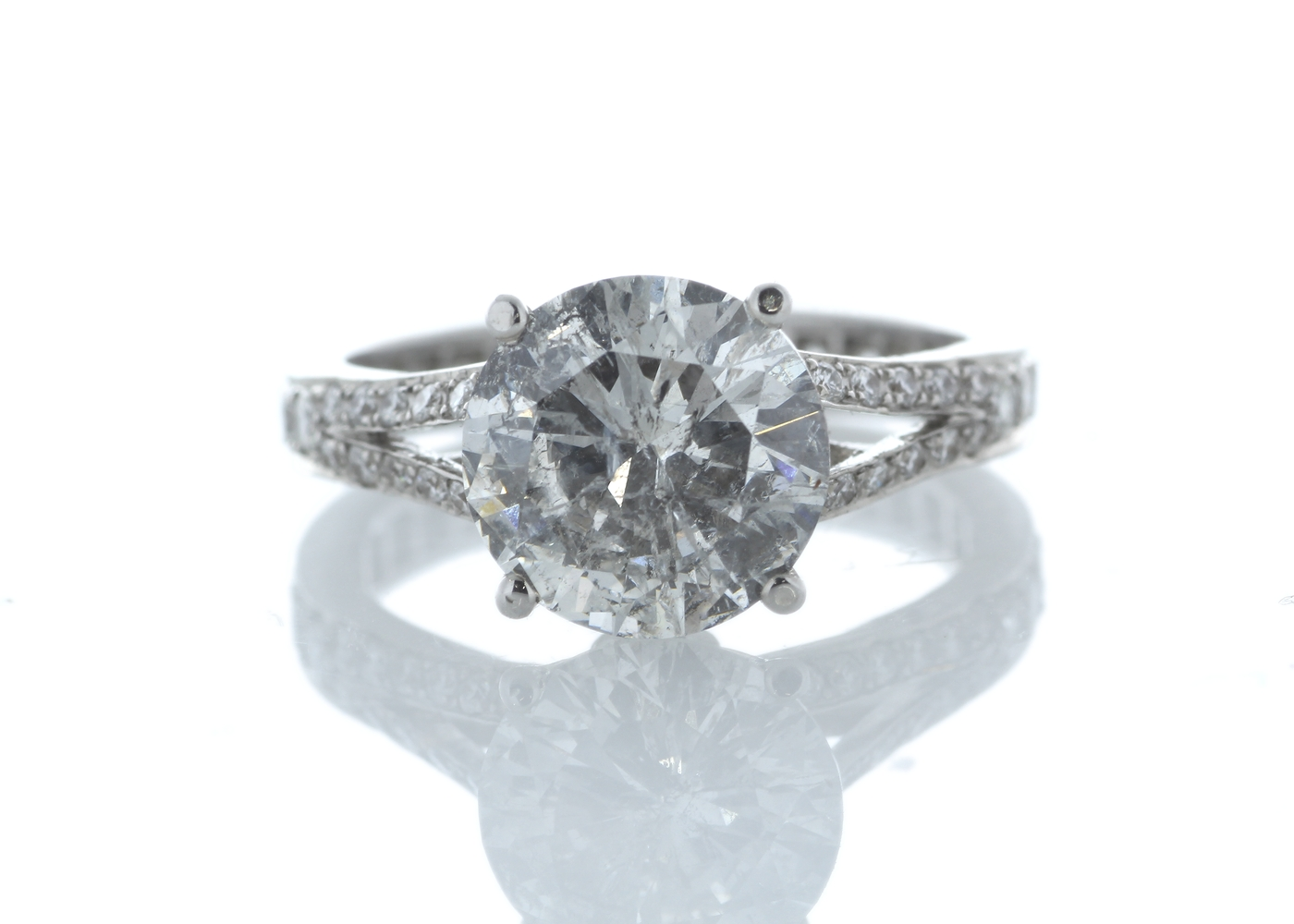 18ct White Gold Stone Set Shoulders Diamond Ring 3.67 Carats
