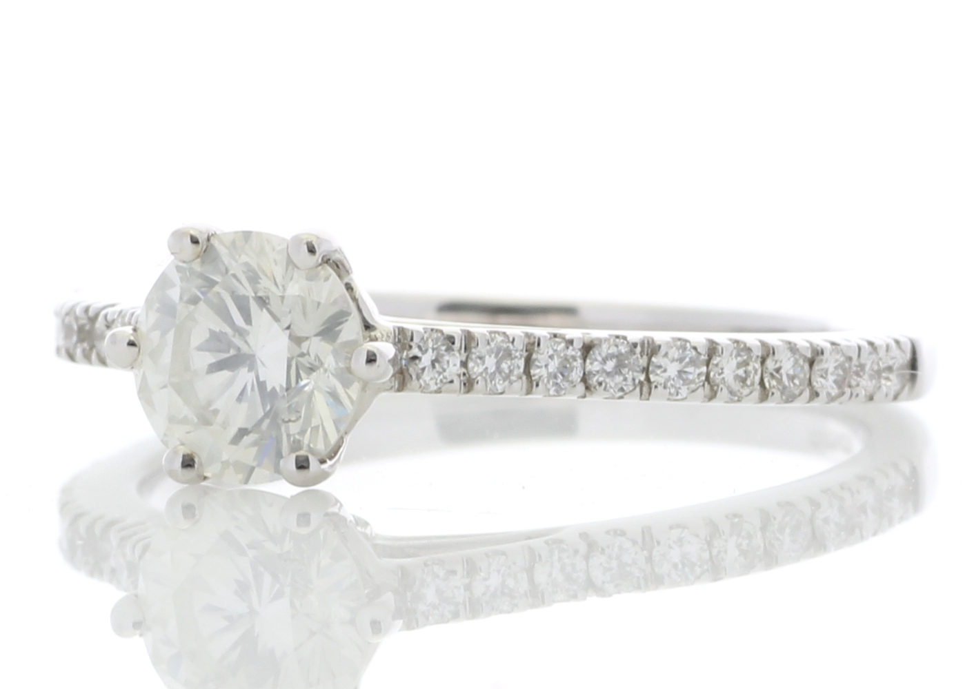 18ct White Gold Solitaire Diamond ring With Stone Set Shoulders 0.90 Carats - Image 2 of 5