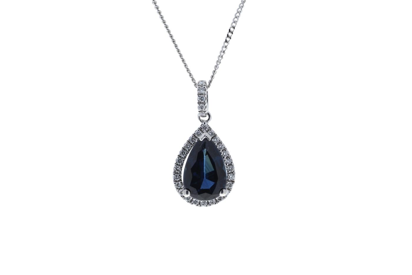 18ct White Gold Diamond And Sapphire Pendant 2.35 Carats