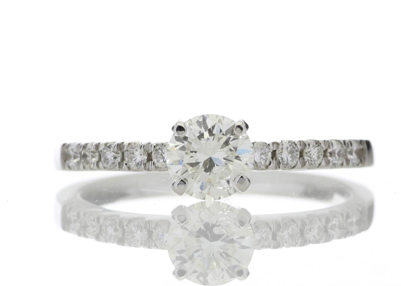 18ct Stone Set Shoulders Diamond Ring 0.69 Carats