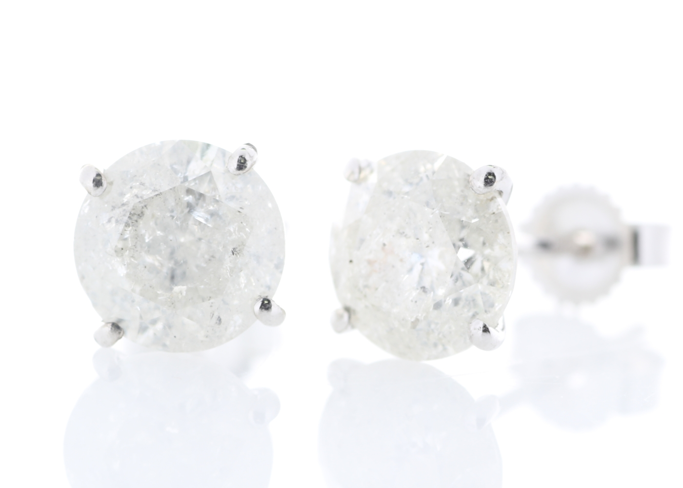 Lot 39 - 18ct White Gold Prong Set Diamond Earrings 2.74 Carats