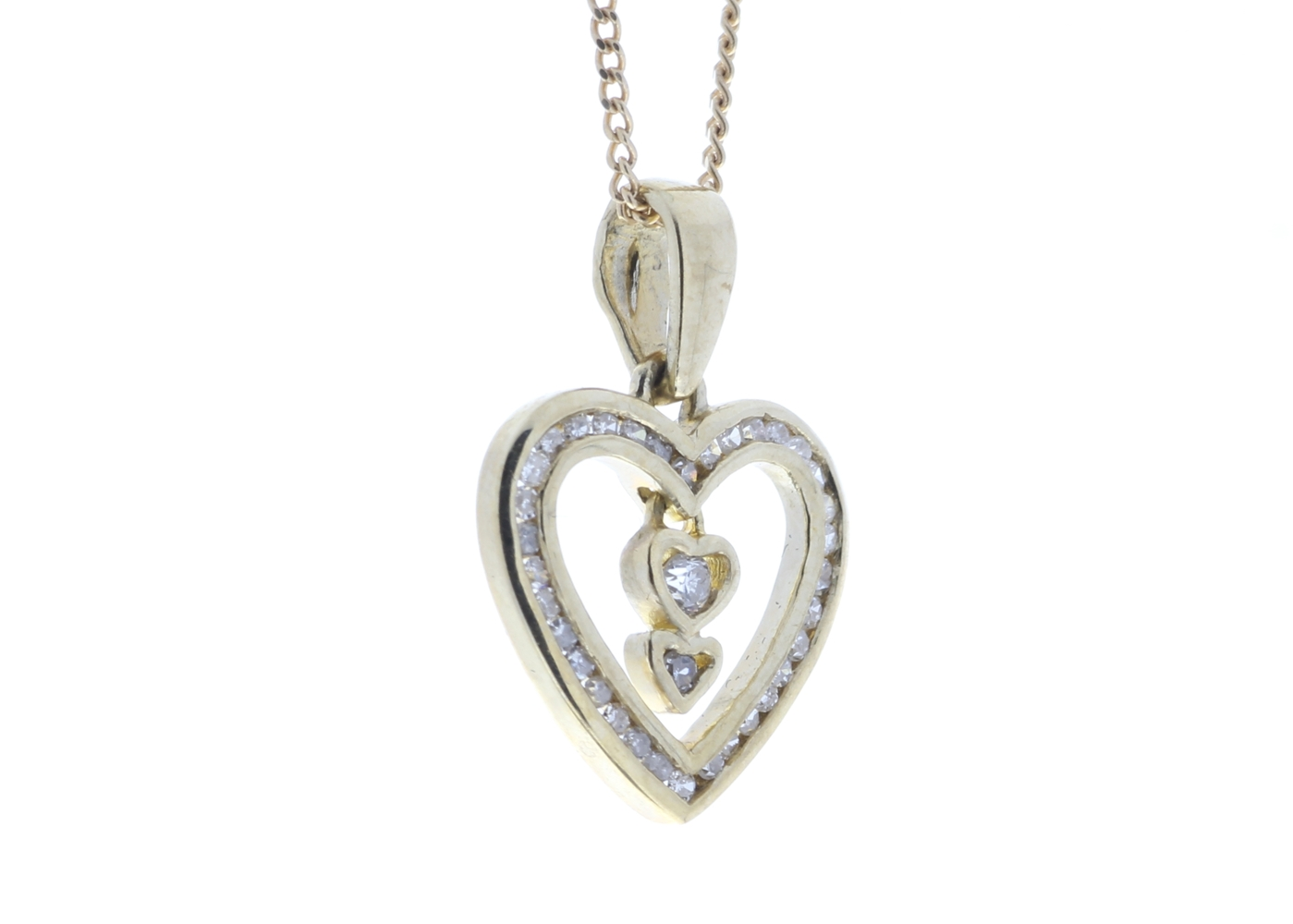Lot 51 - 9ct Yellow Gold Heart Pendant 0.21 Carats