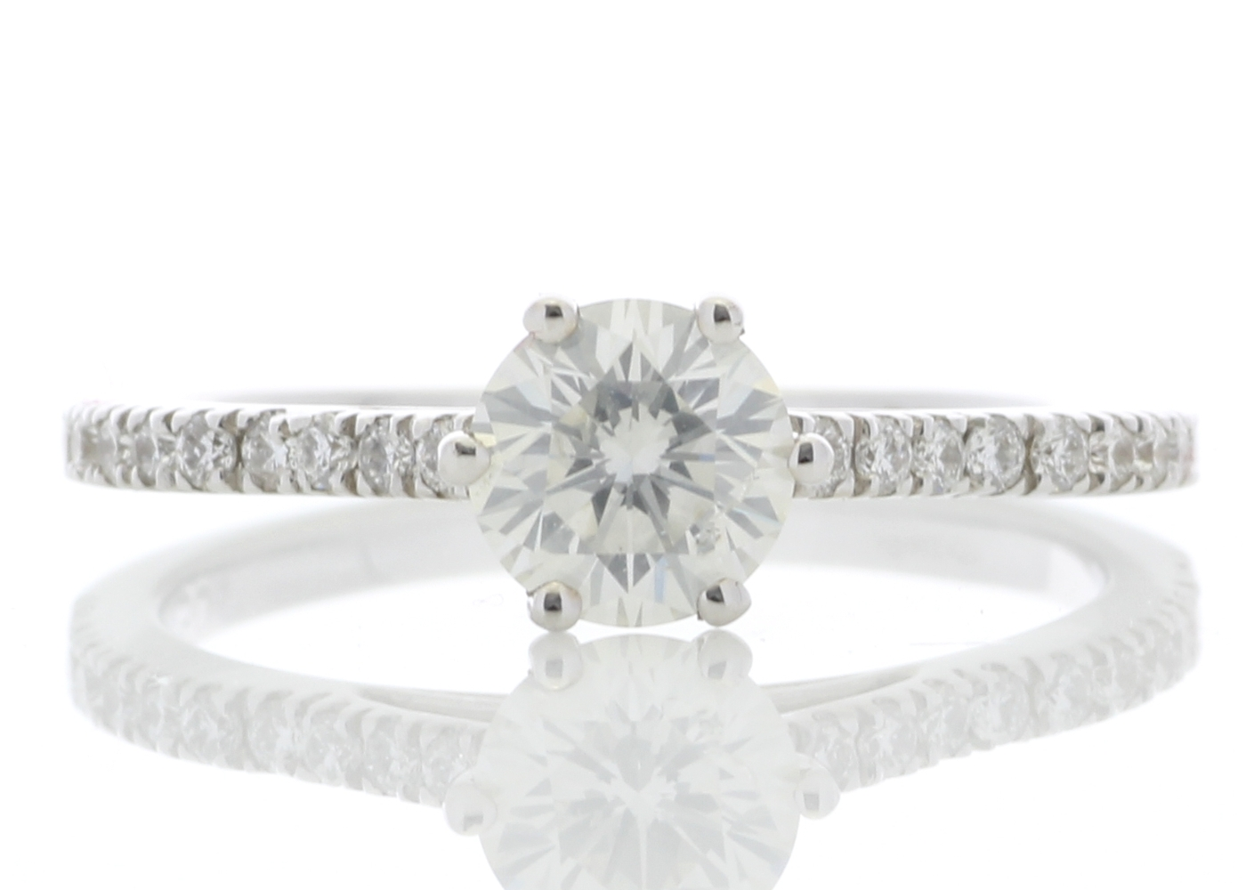 18ct White Gold Solitaire Diamond ring With Stone Set Shoulders 0.90 Carats
