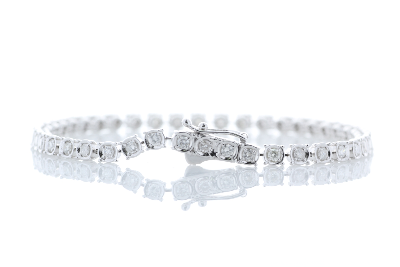 18ct White Gold Tennis Diamond Bracelet 1.50 Carats - Image 3 of 4