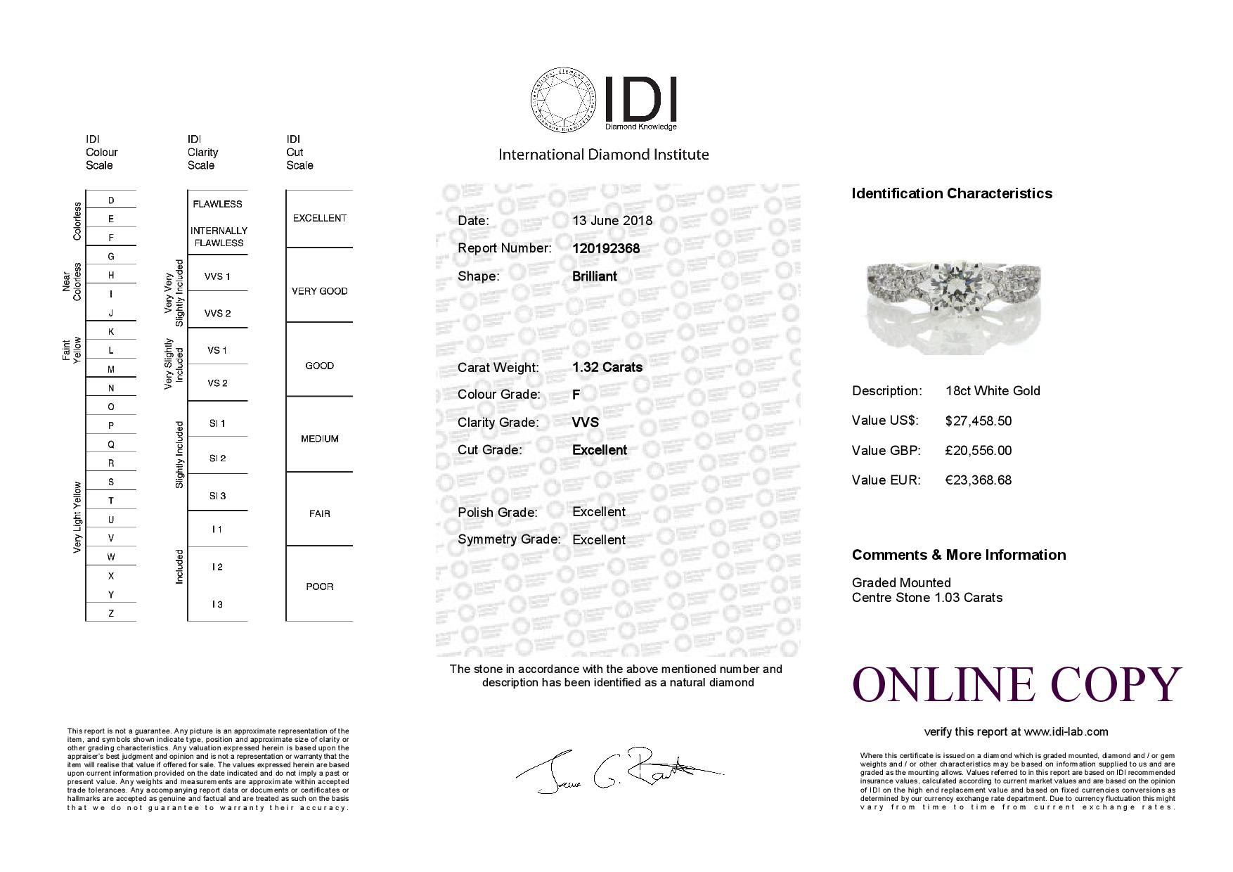 18ct White Gold Claw Set With Stone Set Shoulders Diamond Ring 1.32 Carats - Image 5 of 5