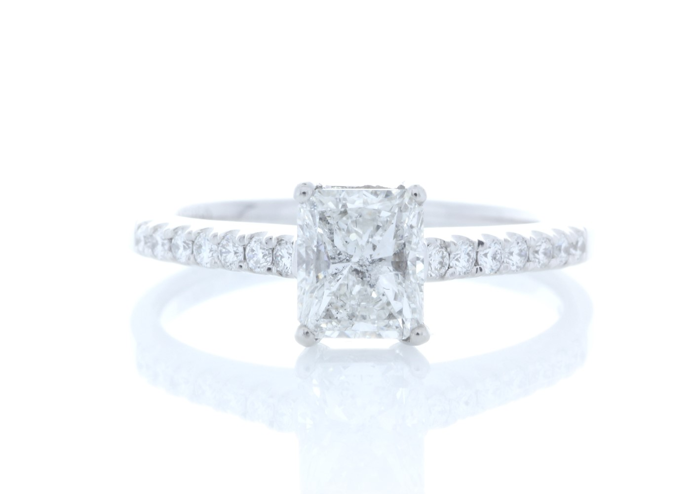 Platinum Stone Set Shoulders Diamond Ring 1.07 Carats