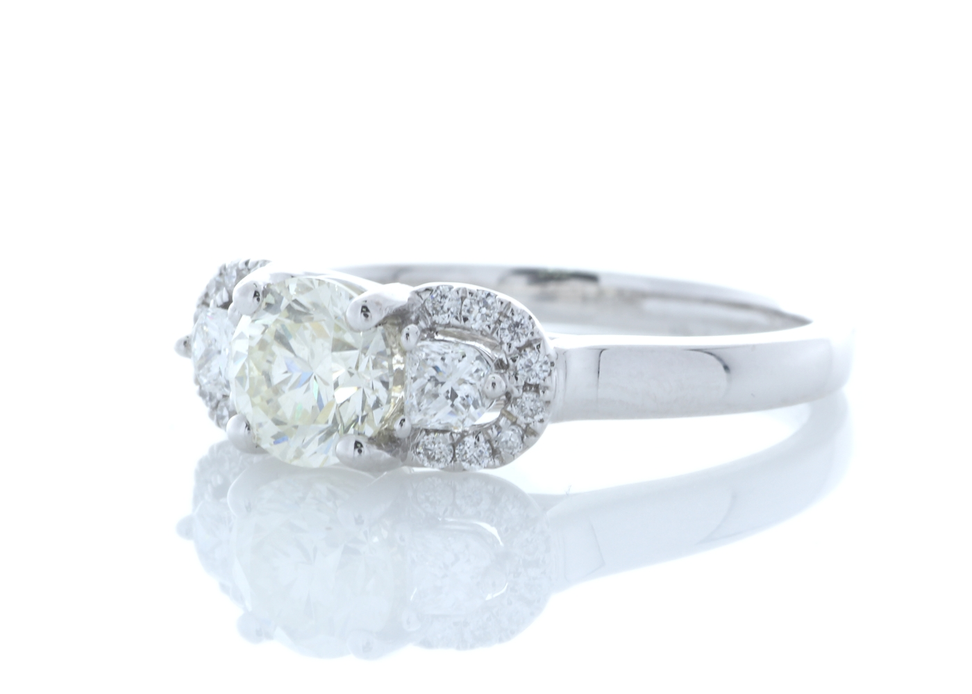 Lot 37 - 18ct White Gold Three Stone Claw Set Diamond Ring 1.02 Carats