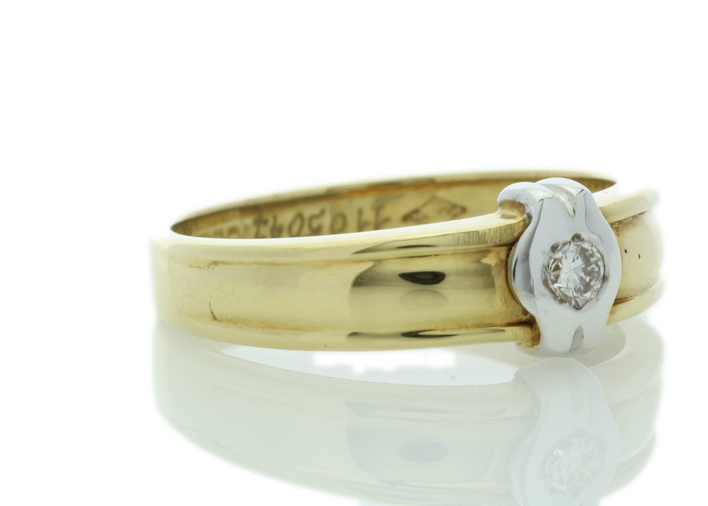 18ct Yellow Gold Rub Over Set Diamond Ring 0.21 Carats - Image 4 of 5