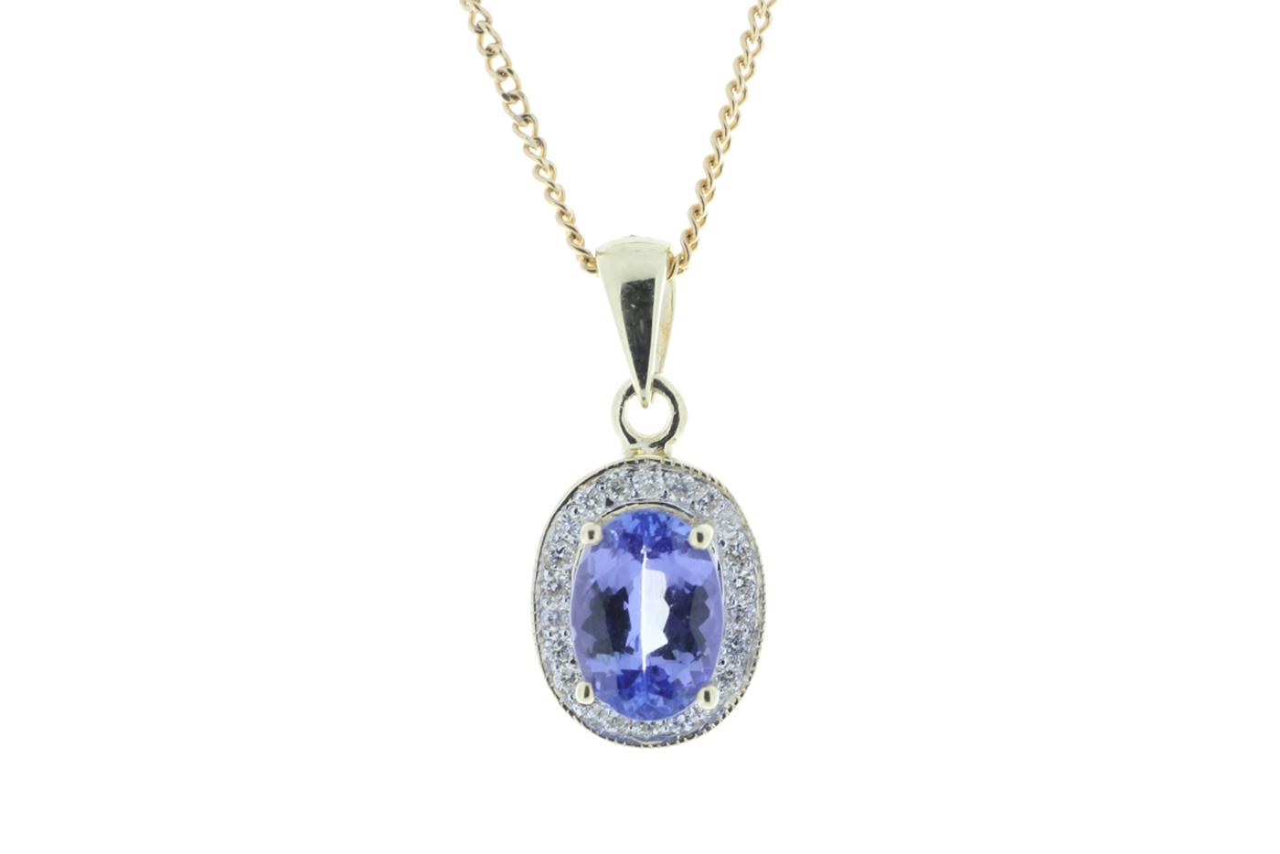 9ct Yellow Gold Diamond And Tanzanite Pendant