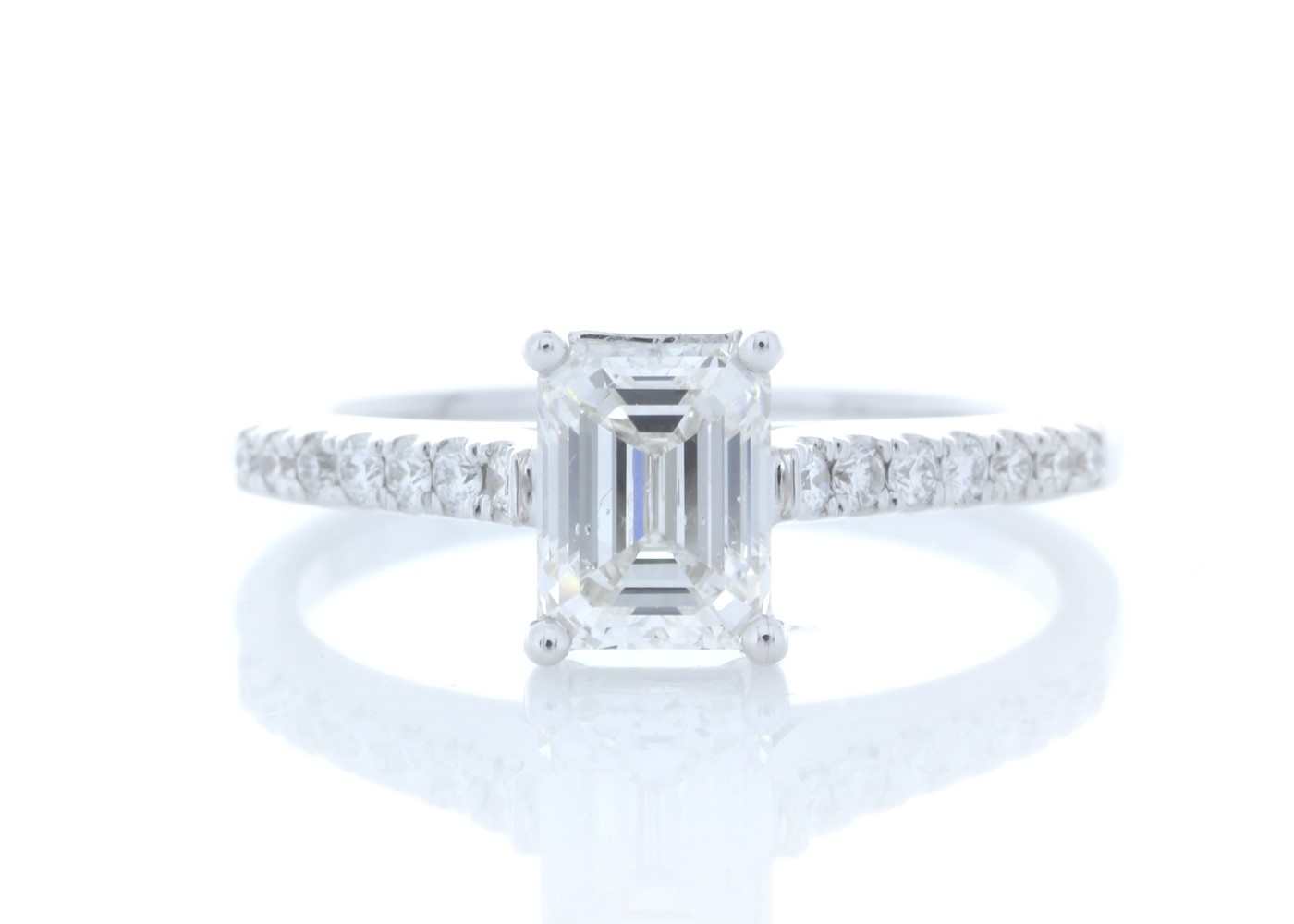 18ct White Gold Stone Set Shoulders Diamond Ring 1.19 Carats