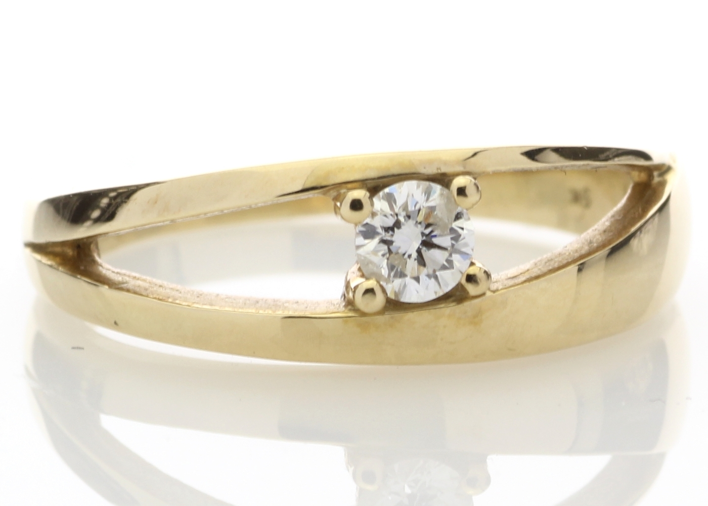 9ct Yellow Gold Claw Set Diamond Ring 0.18 Carats - Image 4 of 4