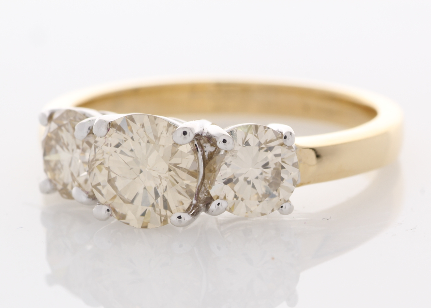Lot 8 - 18ct Yellow Gold Three Stone Claw Set Diamond Ring 2.43 Carats