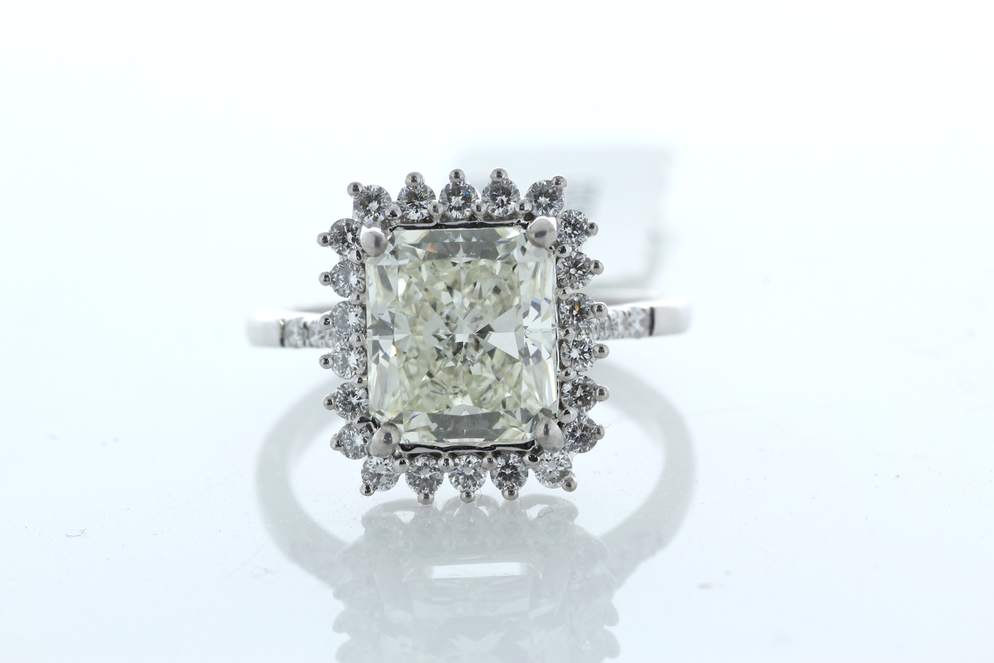Lot 30 - 18ct White Gold Halo Set Ring 3.86 Carats