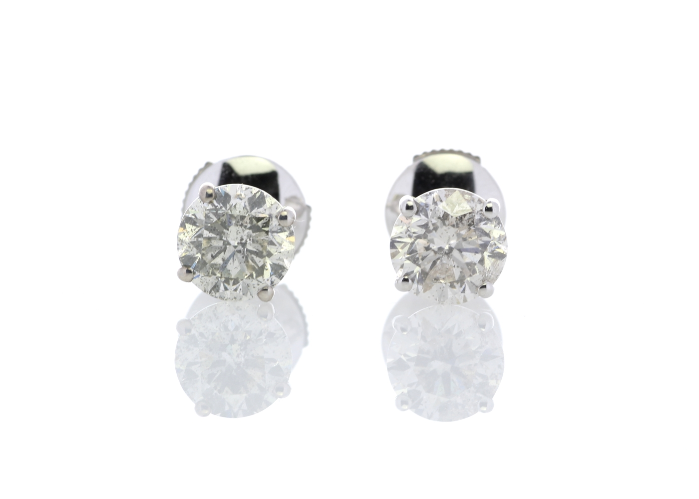 Lot 38 - 18ct White Gold Claw Set Diamond Earrings 2.34 Carats