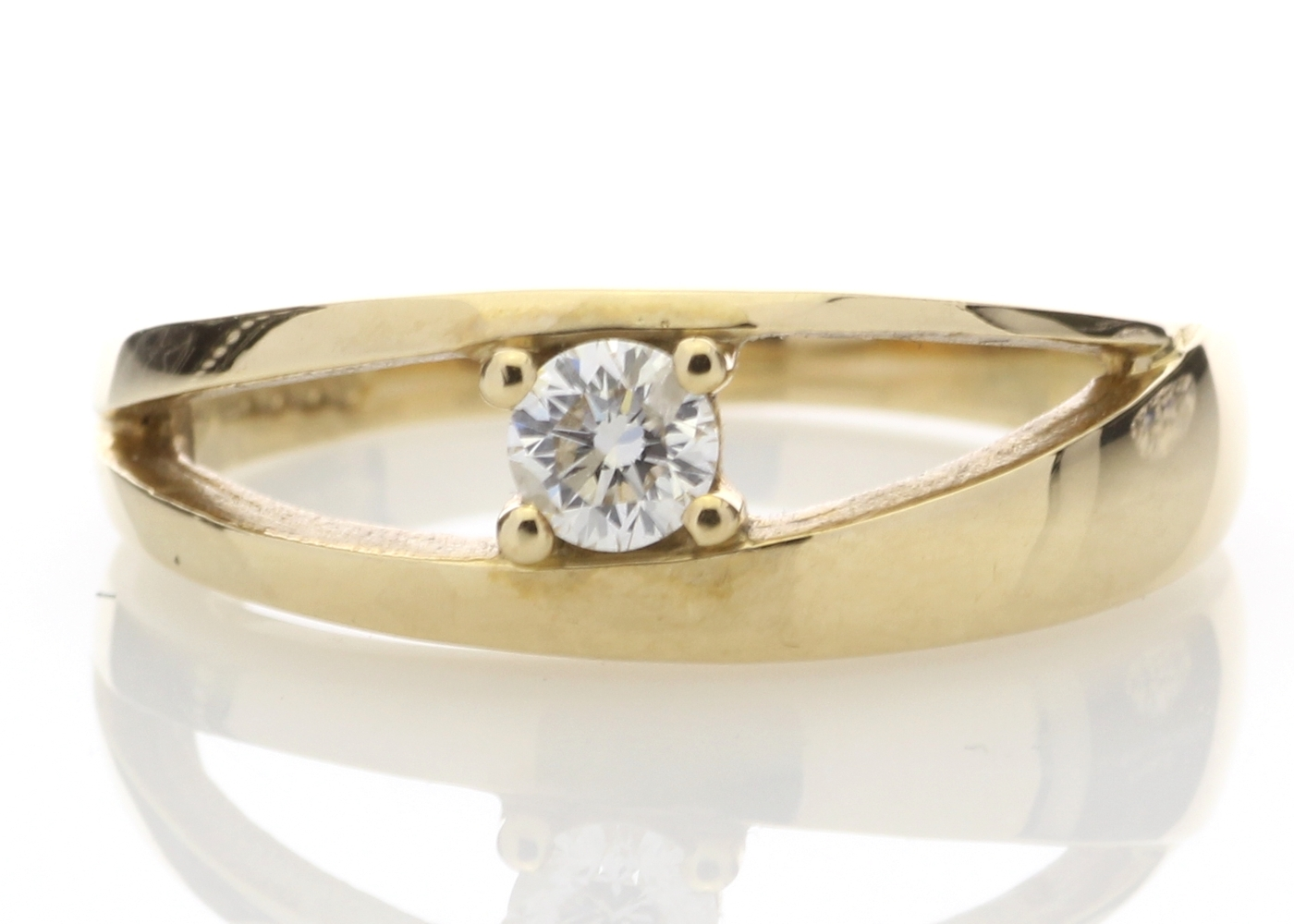 9ct Yellow Gold Claw Set Diamond Ring 0.18 Carats