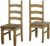 1 X Pair Corona Dining Chairs Distressed Waxed Rrp £119.99,