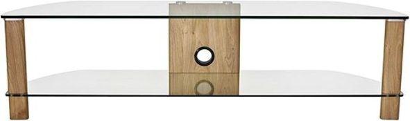 1 X Alphason Century 1500 Tv Stand - Light Oak & Clear Glass Rrp £109.99,,
