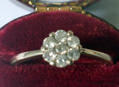 Lovely 9Ct White Gold Diamond Ring.