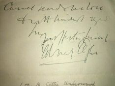 Edward Elgar Handwritten Signed Autograph Letter to Catherine Underwood