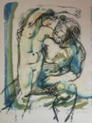 Satyr and Nymph. Continental School, signed edition lithograph