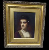 Hermann Schmiechen - Oil Painting - A Beautiful Regency Lady