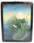 Oriental Reverse Glass Painting in Ebonized Frame Panel