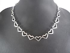 Hearts shaped silver necklace