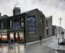 Steven Scholes (b.1952). 'The Original Eccles Cake Shop Eccles 1962'. Signed Oil Painting