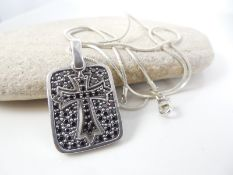 Silver cross pendant with silver chain
