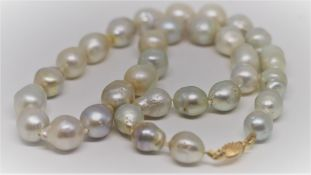 Certified High Lustre South Sea Pearls Necklace 18K Yellow Gold Clasp