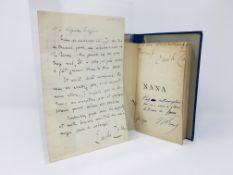 Emile Zola - Inscribed First Edition of Nana and a handwritten 4 page letter to M Charpentier