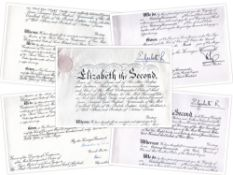 2 x Queen Elizabeth II Grants CBE + CMG signed Philip & Alexander of Tunis