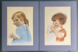 Pair of Child Portraits in Watercolour