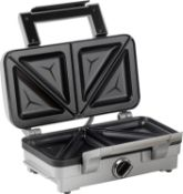 (M61) Cuisinart 2-in-1 Sandwich and Waffle Maker, 1000 W - Silver Extra large sandwich plates w...