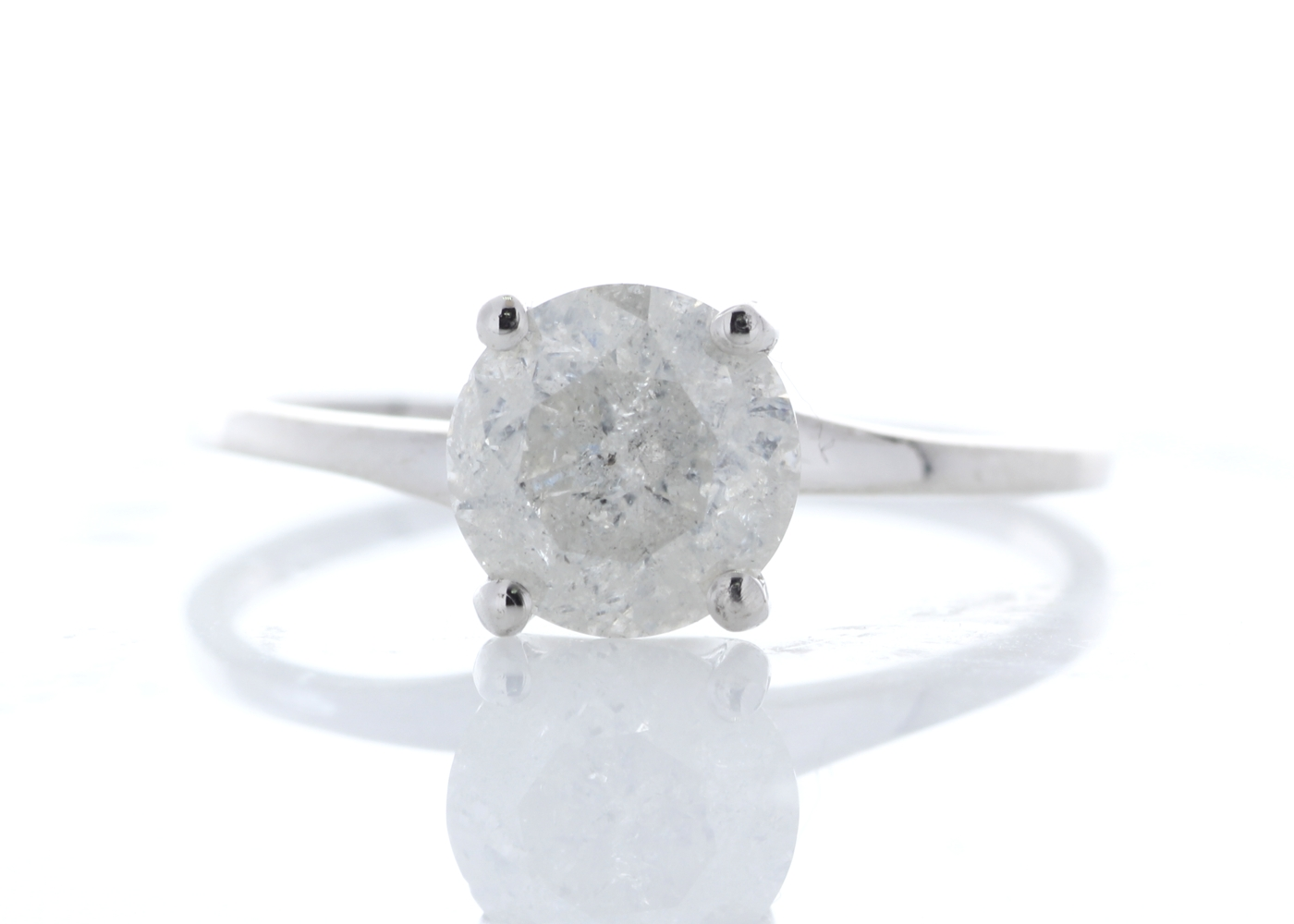 Lot 12 - 18ct White Gold Single Stone Prong Set Diamond Ring 1.25 Carats