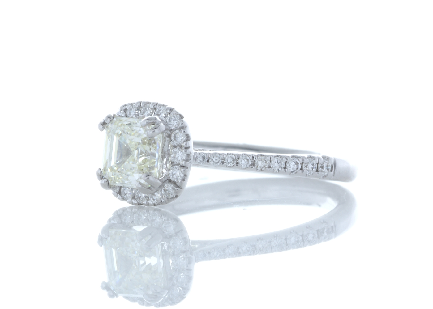 18ct White Gold Single Stone With Halo Setting Ring (1.01) 1.27 Carats - Image 2 of 6