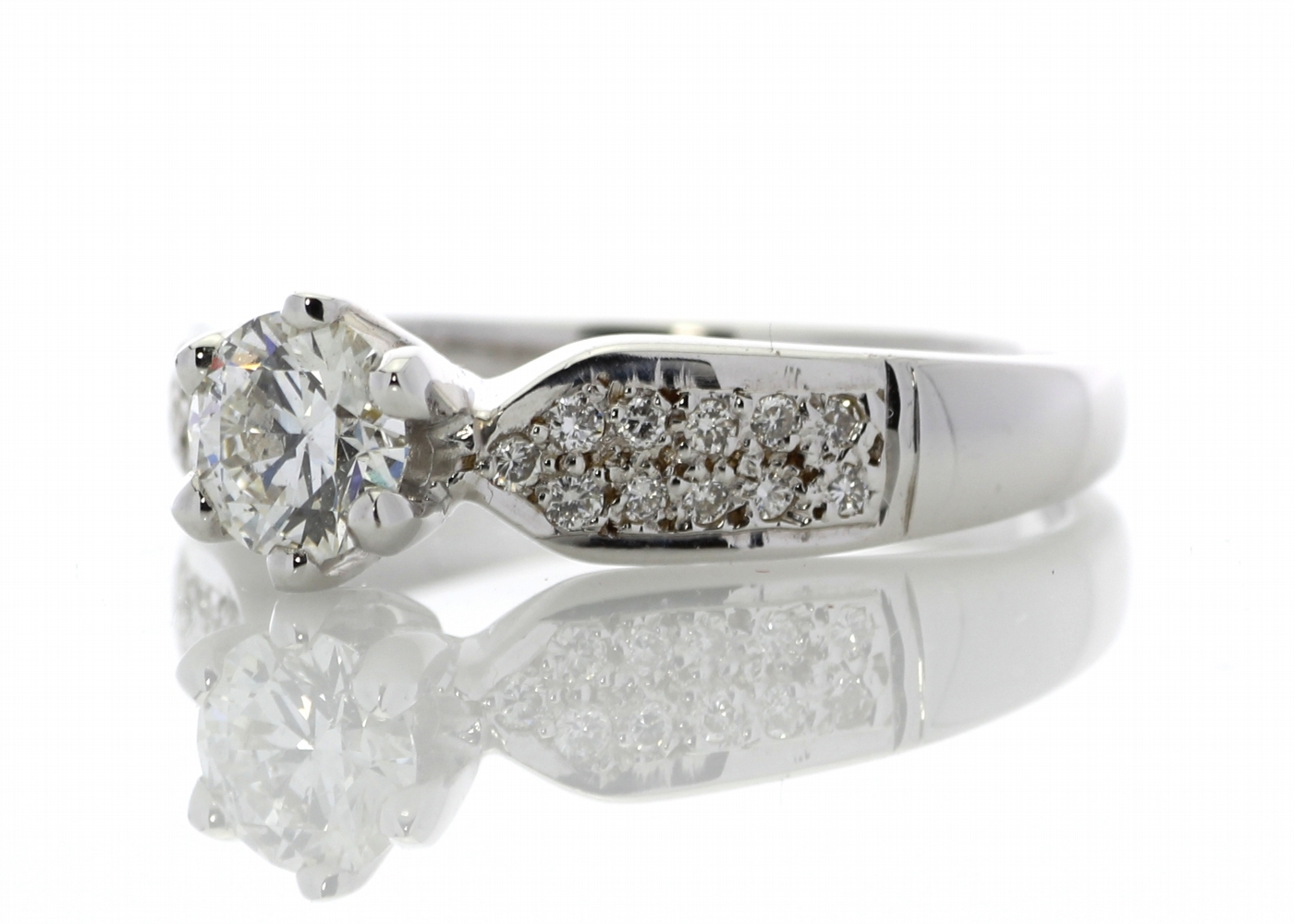Lot 16 - 18ct White Gold Single Stone Claw Set With Stone Set Shoulders Diamond Ring 0.76ct (0.54) Carats