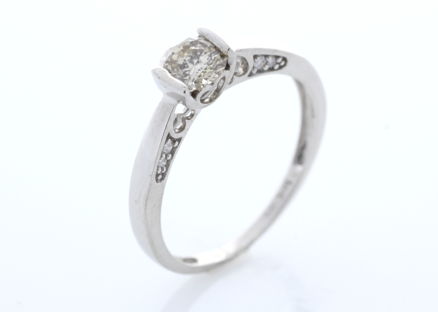 18ct White Gold Single Stone Prong Set With Stone Set Shoulders Diamond Ring 0.60 Carats
