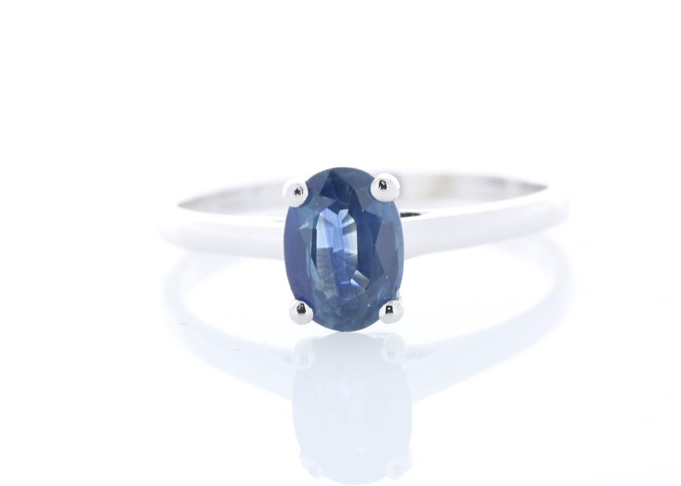 Lot 48 - 9ct White Gold Single Stone Oval Cut Sapphire Ring 1.08 Carats