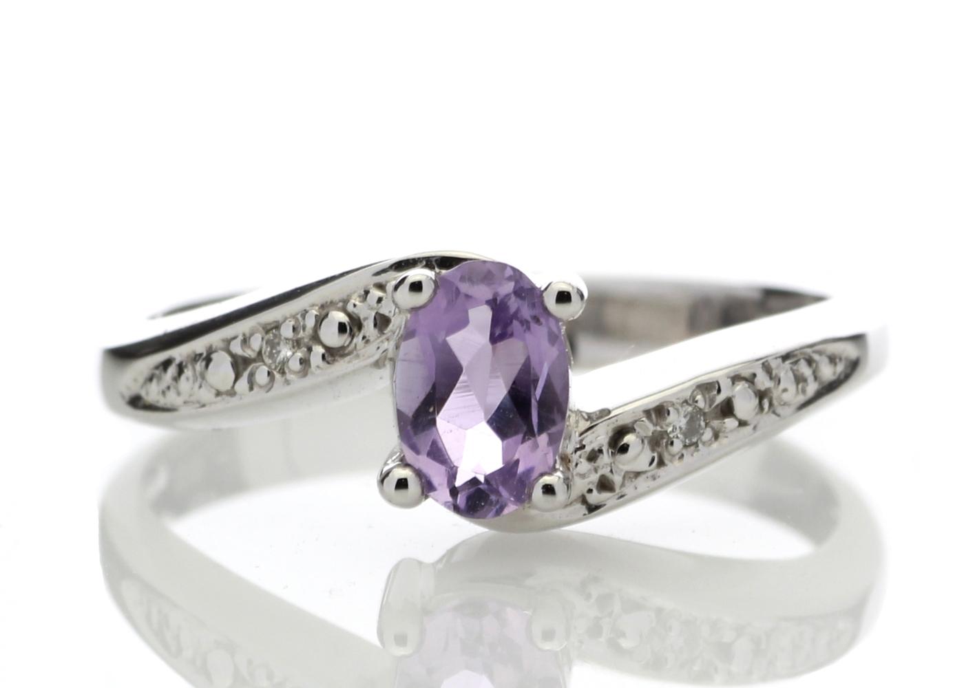 9ct White Gold Amethyst Diamond Ring 0.01 Carats