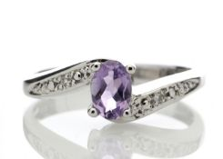 9ct White Gold Amethyst Diamond Ring 0.01 Carats