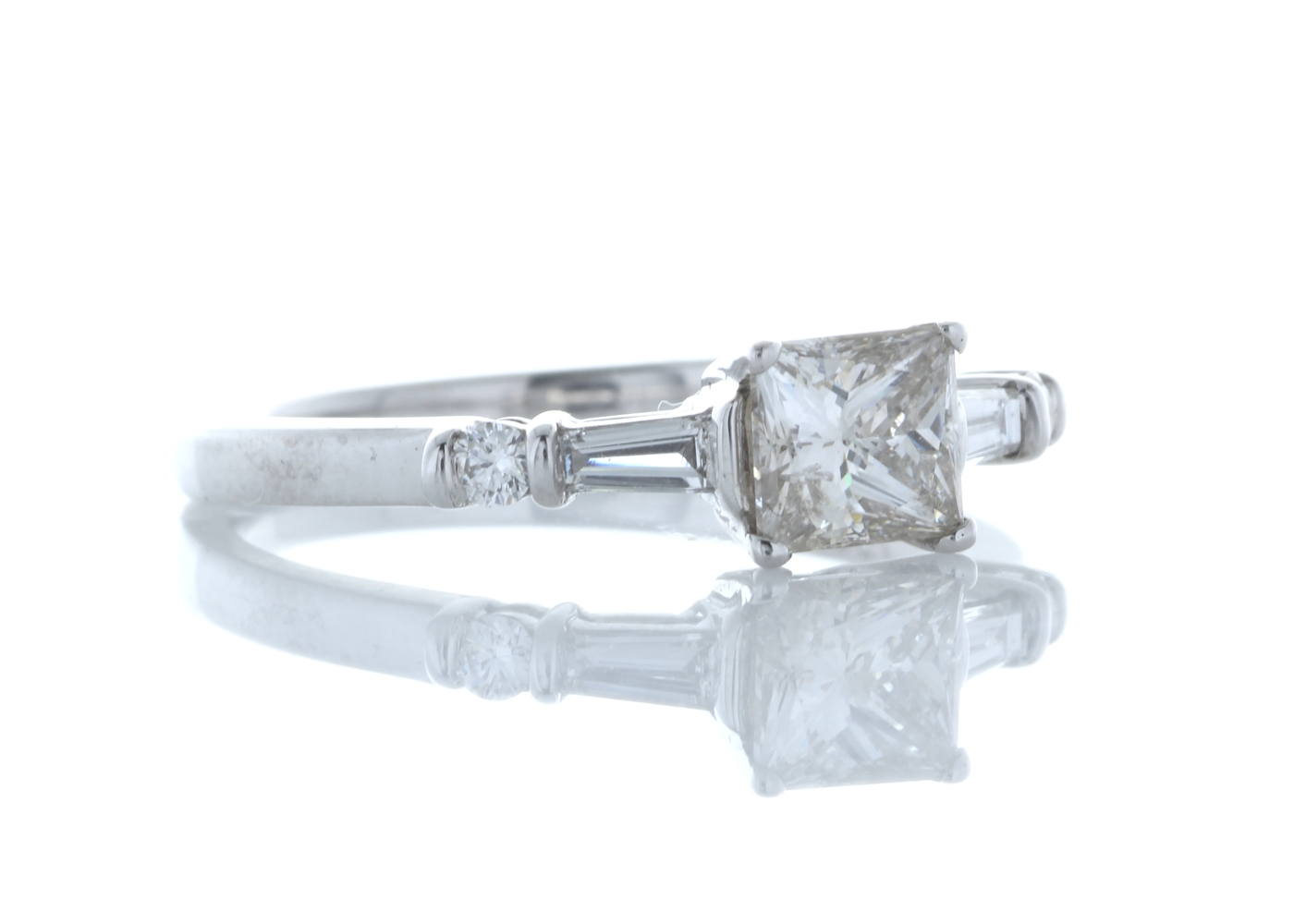 18ct White Gold Single Stone Princess Cut Diamond Ring With Set Shoulders (0.72) 0.96 Carats - Image 4 of 5