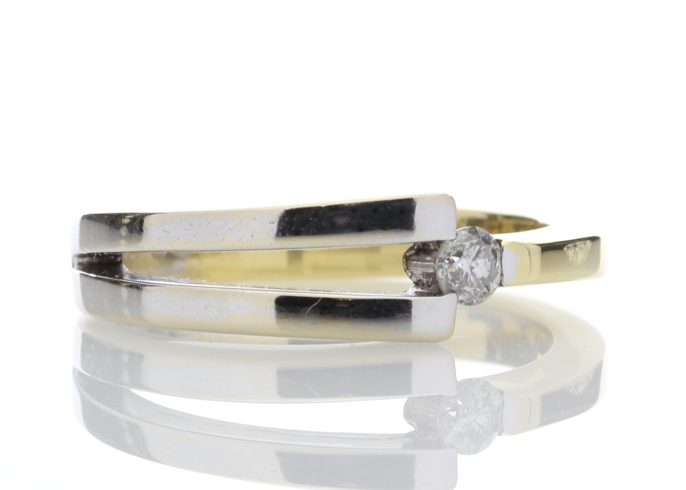 18ct Two Tone Diamond Set Ring 0.13 Carats - Image 4 of 8