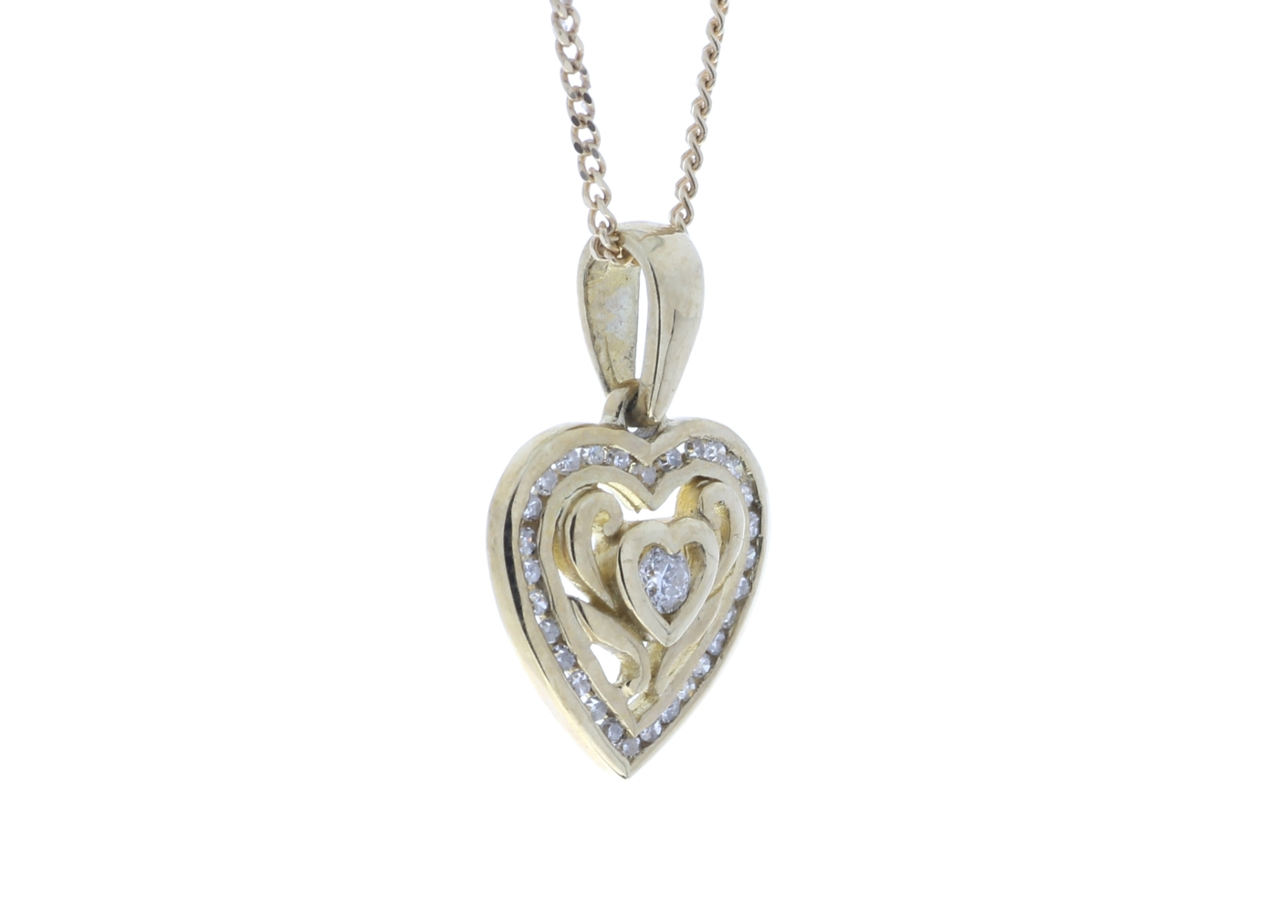 Lot 46 - 9ct Yellow Gold Heart Pendant Set With Diamonds With Centre Heart and Swirls 0.18 Carats