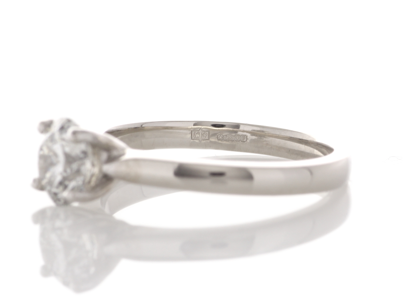 Lot 39 - Platinum Single Stone Claw Set Diamond Ring 1.07 Carats
