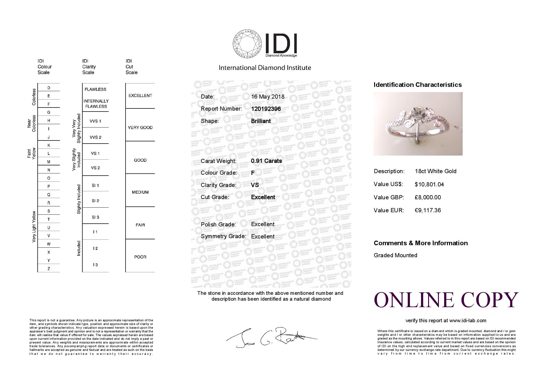 18ct White Gold Single Stone Diamond Ring With Stone Set Shoulders (0.55) 0.91 Carats - Image 5 of 5