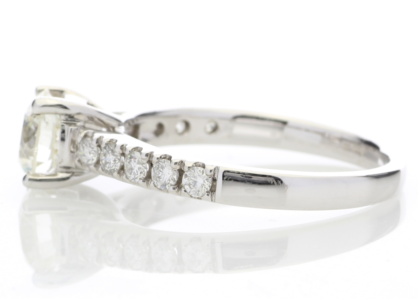 Lot 17 - 18ct White Gold Single Stone Diamond Ring With Stone Set Shoulders (1.02) 1.32 Carats